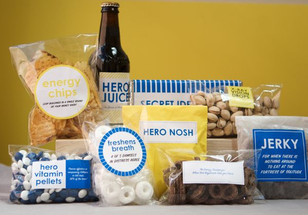 "Share this idea with your unit Families ... make a ""Superhero"" care package to send to your Soldier, renaming his favorite snacks with hero themed titles.  #FRG"