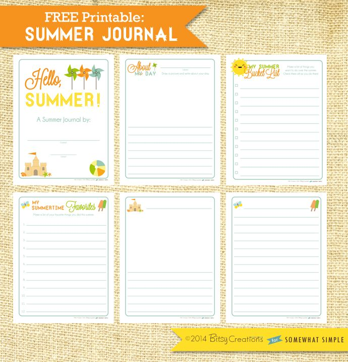 Looking for a fun summer project to keep your kids writing?   Free printable Summer Journal for school aged children by BitsyCreations for Somewhat Simple