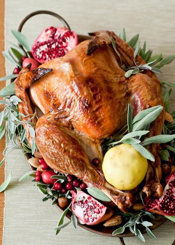 Cranberry and Sage Turkey Platter Decorations
