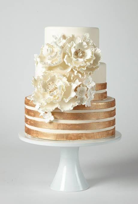 Copper striped 3 tier cake