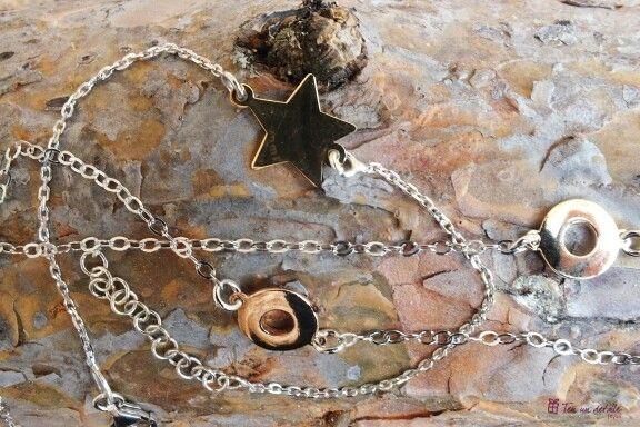 Pulseras de Plata de ley con estrella o donut.  Baño de oro rosa / amarillo de 18 kilates