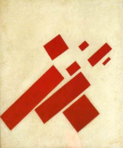 Huit rectangles - rouge sur blanc