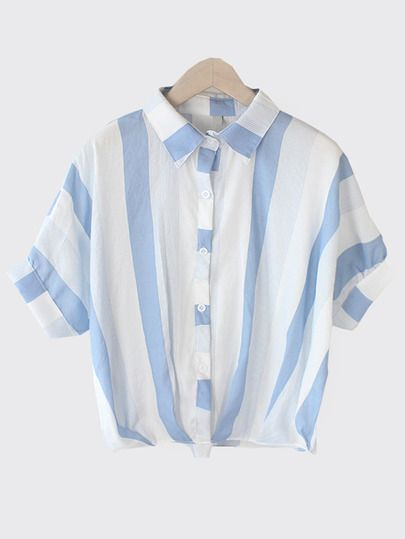 Blusa de rayas verticales con manga de Dolman -azul-Spanish SheIn(Sheinside)