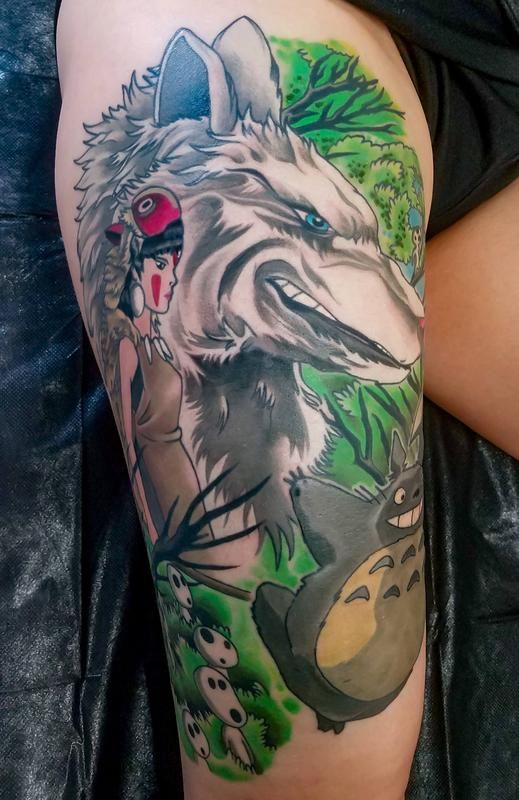 Princess Mononoke (and Totoro) Tattoo by Adam Sky Resolution Tattoo San Francisco California