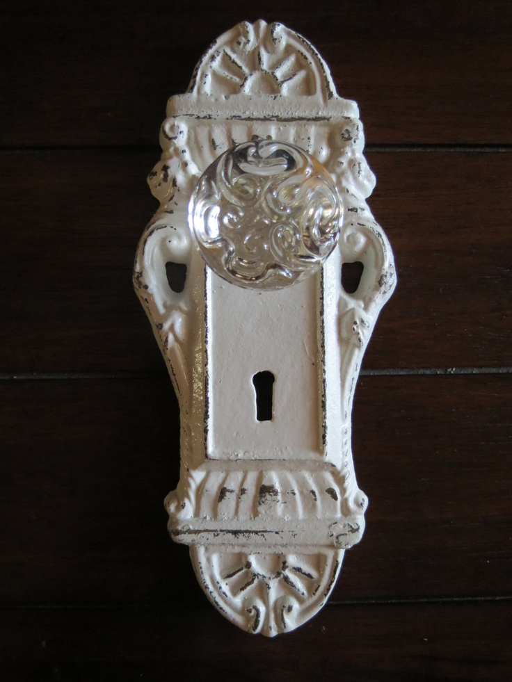 Wall Hook/ Shabby Chic Hook/ Door Knob Decor/ White/ Cast Iron Hook/ Cottage Style/ Towel Hook/ Key Hanger/ Jewelry Hook