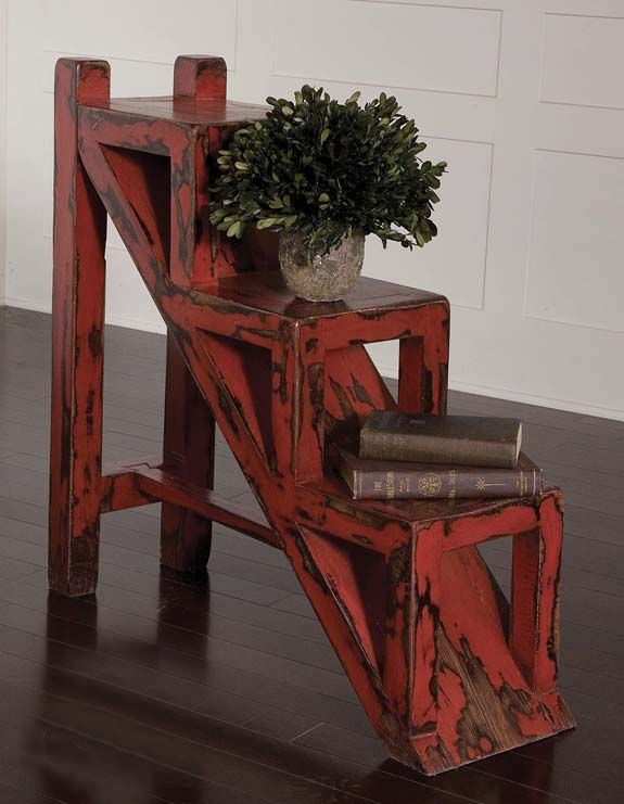 Stepped Red Accent Table Western Cocktail And End Tables   Solid,  Plantation Grown Mango Wood