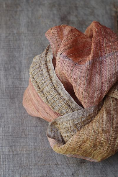 Beautiful scarf colored with what appears to be natural dyes by chiaki maki
