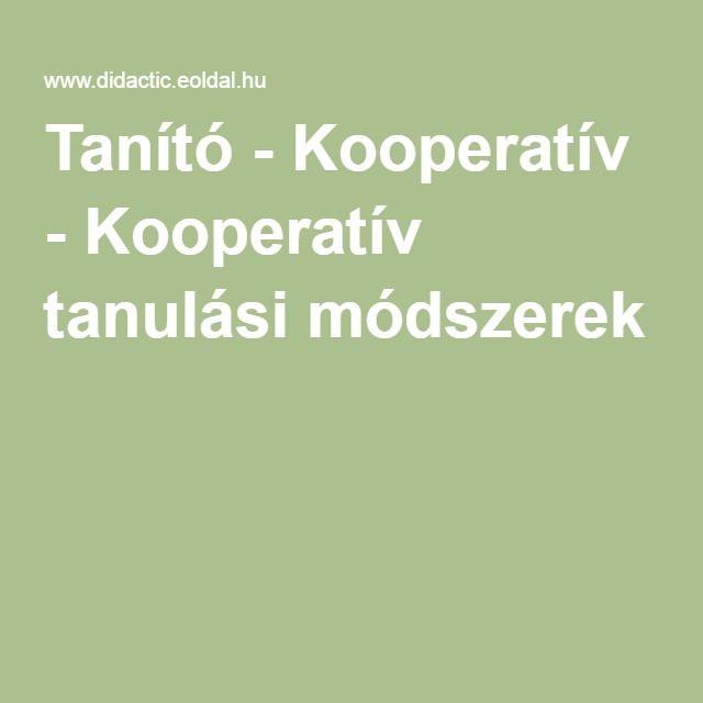Tanító - Kooperatív - Kooperatív tanulási módszerek
