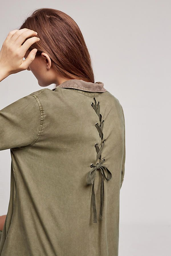 Farryn Laced-Back Shirtdress