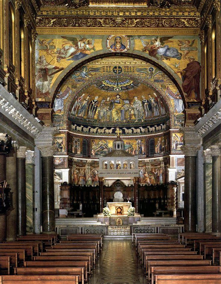 Pietro Cavallini. Interior view (1296-1300). Mosaic. Santa Maria in Trastevere, Rome