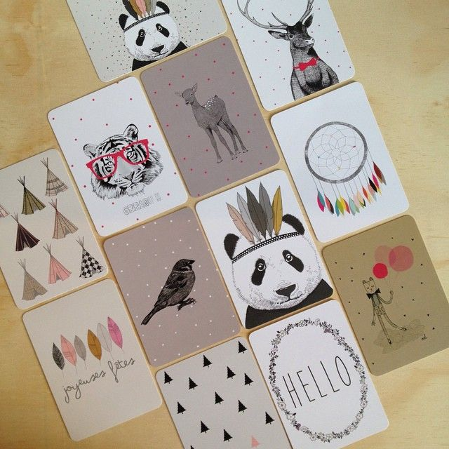 F R I D A Y // it's a rainy day here in Brisbane but I think these gorgeous postcards will brighten your day! Shop www.tleafcollections.com.au #postcards #cards #A6prints #quirkycards #madeinfrance #hello #friday #lovenotes #tipis #bird #panda #dreamcatcher #balloons #tiger #minimel #tleafcollections