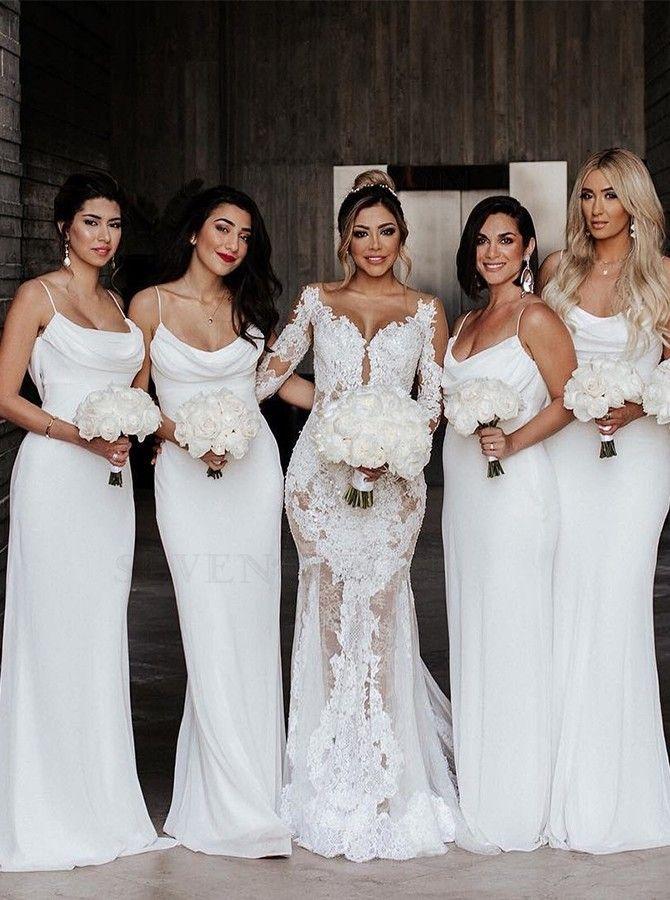 Sheath Cowl Long Simple White Bridesmaid Dress In 2020 White Bridesmaid Dresses White Bridesmaid Aline Wedding Dress