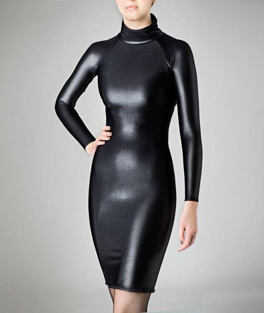 Skintight Shiny Longsleeve Dress Wet Look Spandex Black