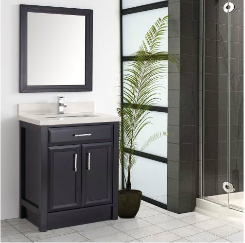 Image Gallery For Website Calais inch Transitional Bathroom Vanities Espresso Finish Wood framed mirror Stone countertop with under mount sink Matching backsplash