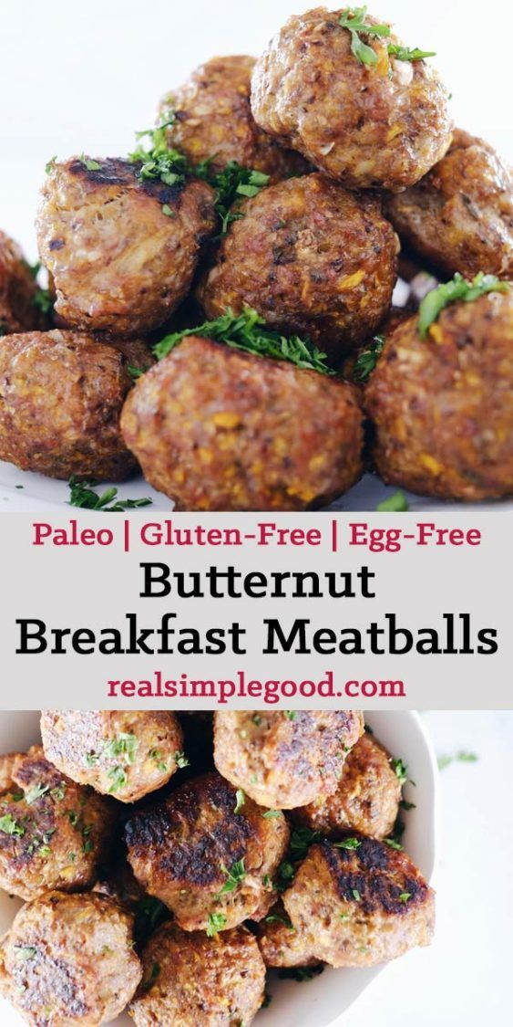These butternut breakfast meatballs are for all you egg-free folks! They're the perfect make ahead breakfast for minimal effort mornings during a busy week! Paleo, Gluten-Free + Egg-Free. | realsimplegood.com