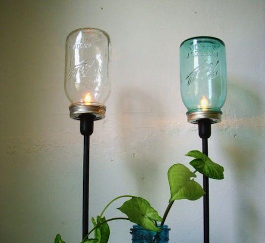 20 de los proyectos Jar Mejor Mason | Gire tarros de cristal en lámparas de mesa top!