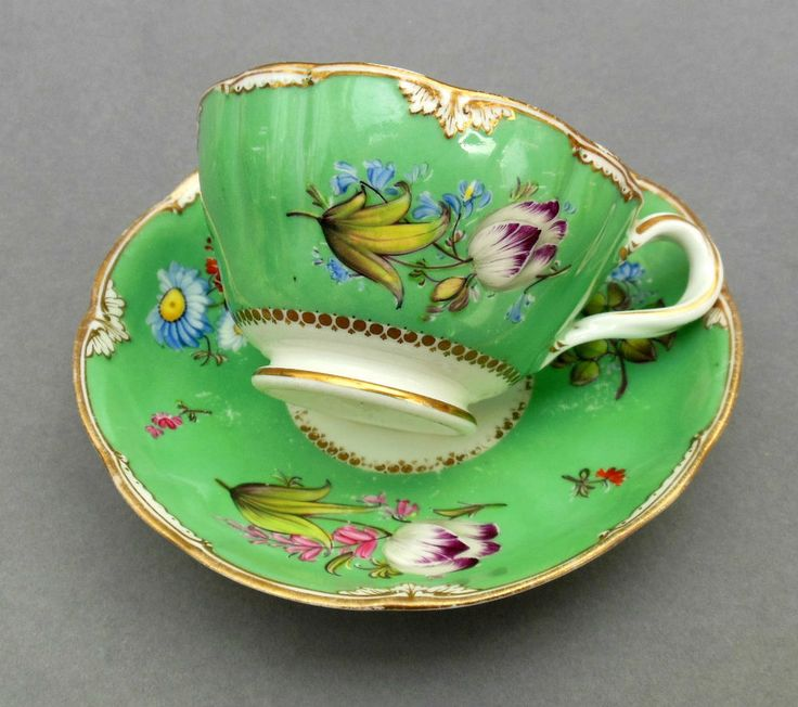 "C19th Minton Tea Cup & Saucer ~ Hand Painted Floral Green Ground ~ 1679 Patt. ""Repinned by Keva xo""."
