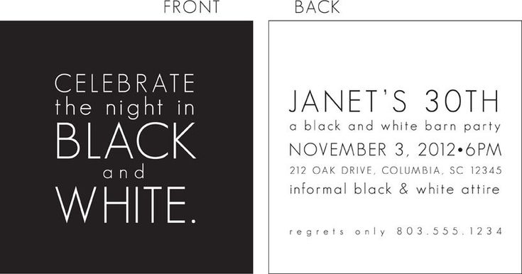 Black and White Party Invitation | 30th birthday ...