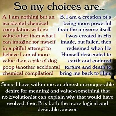 Evolution vs Creationism. I am created.