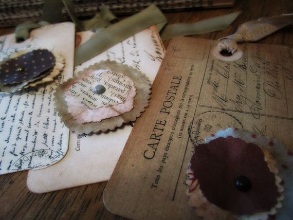 Embellished French Post Card Tags Handcrafted by littlethings1