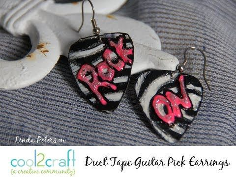 How to Make Duct Tape Guitar Pick Earrings by Linda Peterson!! wanna do this!!