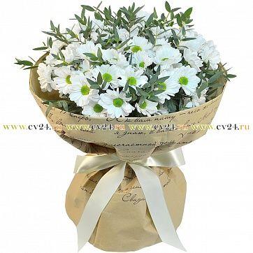 Букет из ромашковой хризантемы и эвкалипта: Сантини