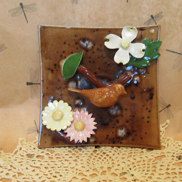 Ceramic Wall Hanging with Bird and Flowers