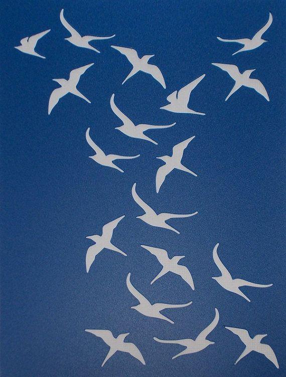 Oiseau fond au pochoir