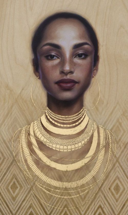 """Bulletproof Soul"" - Sara Golish, oil and gold leaf on panel {figurative artist beautiful female head african-american black woman face portrait cropped painting} <3 Mesmerizing !!"