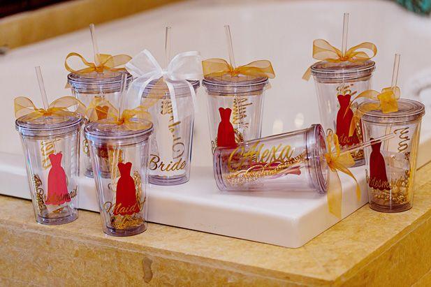 Custom bridesmaid cups (Photo by Melissa Mercado Photography)