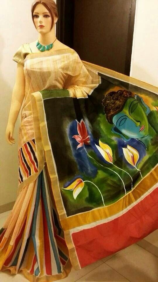 69 Best Hand Painted Sarees Images On Pinterest Fabric