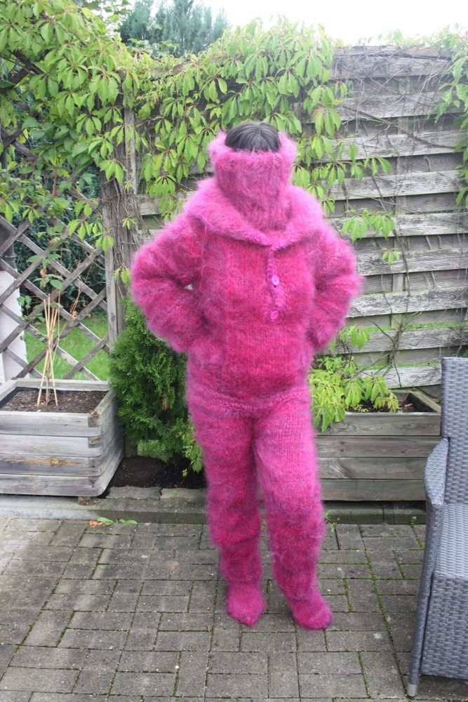 FUCHSIA PINK LONGHAIR MOHAIR SPECIAL COLLAR CATSUIT M-L-XL-XXL SOFT & FUZZY