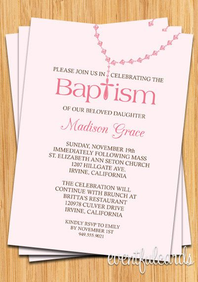 Baby Girl Rosary  Baptism Invitation by eventfulcards on Etsy, $14.99