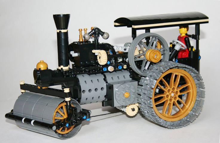"LEGO steam roller in dark grey, black canopy, left side - Nikolaus Löwe - Lego Ideas ""Big Steam Tractor"", alternative build steam roller"