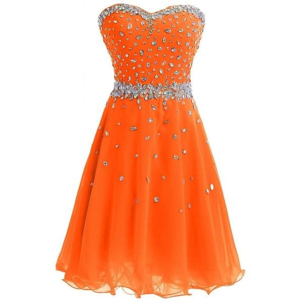 Angel Bride Sweetheart Chiffon Graduation /Homecoming Short Prom... ($29) ❤ liked on Polyvore featuring dresses, orange homecoming dresses, chiffon dress, short prom dresses, chiffon prom dresses and short bridal dresses