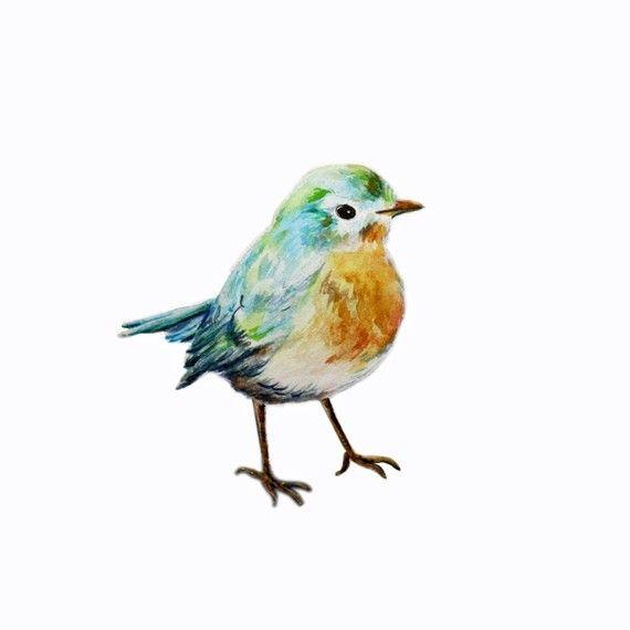 So sweet. Little Blue Bird giclee print from original by christydekoning on Etsy.