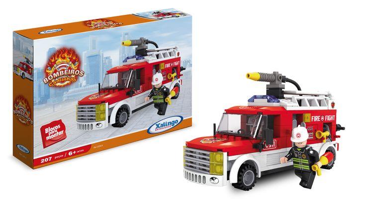 0259.8 - Blocos de Encaixe Bombeiros Caminhão   Contém 207 peças.   Faixa Etária: +6 anos   Jogos e Brinquedos   Xalingo Brinquedos   Crianças