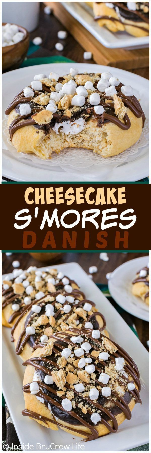 Cheesecake S'mores Danish - these rolls are filled with marshmallow and chocolate. Easy recipe to make for breakfast or late night snack!