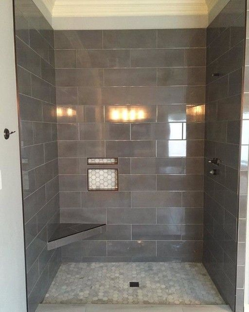 New Lovely Bathroom Features A Dropin Tub With Shower Accented With Gray Subway Tile Surround Fitted With A Marble Hex Tiled Niche Lined With Glass Shelves Finished With A White And Blue Shower Curtain Subway Tiled Shower  Design Photos,