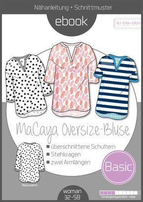 Ebook Oversize Bluse Macaya - Ebook - Schnittmuster und Anleitung als Pdf Datei in A4