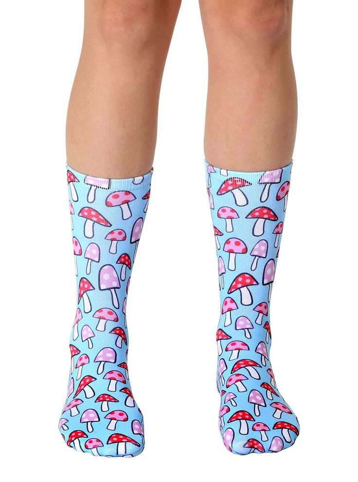 """ADORABLE LITTLE MUSHROOMS ON YOUR SoCKS! *UNISEX *100% POLYESTER *MADE IN THE USA *ONE SIZE FITS MOST *WOMEN'S SHOE SIZE 4-12 *MENS SHOE SIZE 6-13 *13"""" L X 4"""" W"""