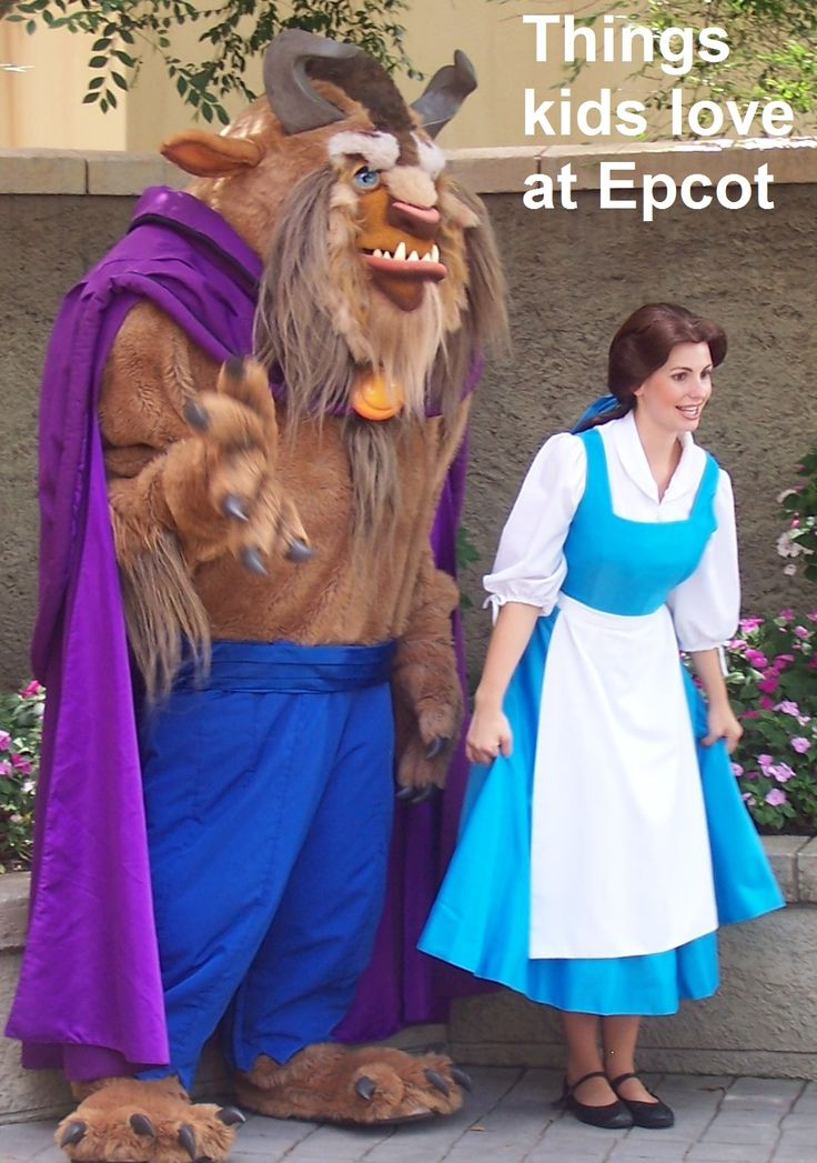 Things Kids Love at Epcot - Meeting Belle & the Beast in the France pavilion. For a list of things kids love at Epcot, see: http://www.buildabettermousetrip.com/epcot-with-young-children