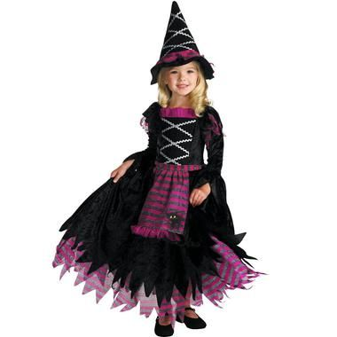 She will have everyone under her cute spell this Halloween in this Fairytale Witch Costume. The Fairytale Witch Toddler Costume includes a full-skirted black dress with pink and silver accents and an
