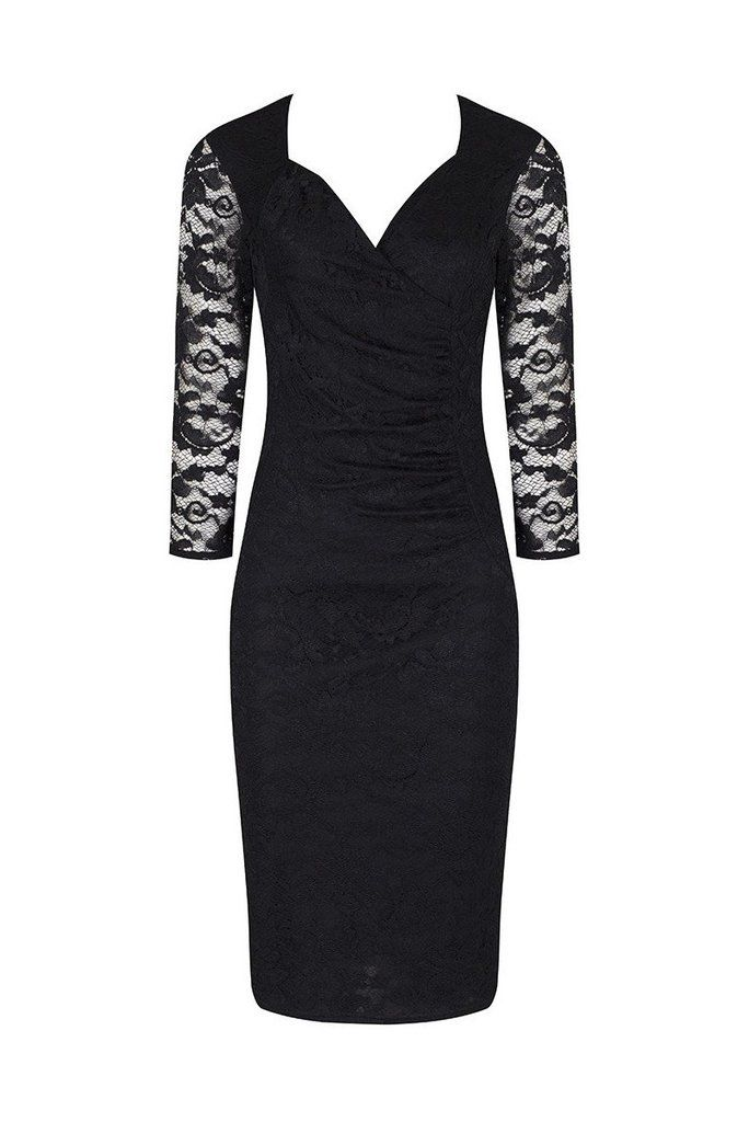 3/4 Sleeve Vintage Black Lace Bodycon Wiggle Dress