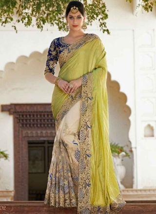 Hypnotic Green And Off White Chiffon Half N Half Designer  sarees http://www.angelnx.com/Sarees/Bridal-Sarees