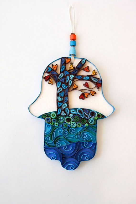 Original, one of a kind, Hamsa decoration. Handmade from paper. It is a wall decoration meant to upgrade your space with colors, joy and bring you good