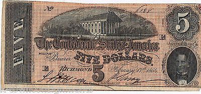 1864 CONFEDERATE STATES OF AMERICA $5 DOLLAR BANK NOTE W/ IRREGULAR CUT