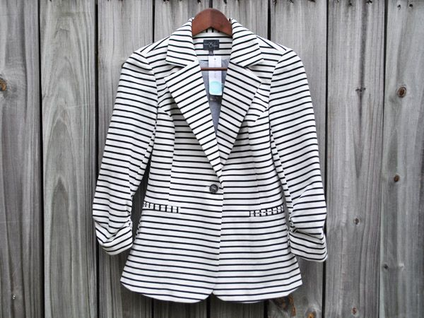 Market and Spruce Striped Ruched Sleeve Blazer ($78) I WOULD LOVE to have this in my next Stitch Fix box!!!