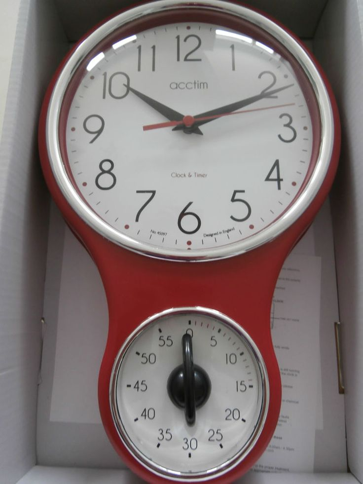 Great ACCTIM RETRO 50s STYLE KITCHEN CLOCK AND TIMER VINTAGE RED WITH FREE BATTERY