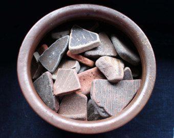 Bizen Bowl w/ Shard Fragments,  Vintage Japanese Bizen Yaki Bowl with Beach Found, Old Pottery Fragments, Wabi Sabi Decor, Free Shipping